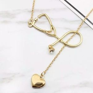 New large Stethoscope and heart pendant necklace